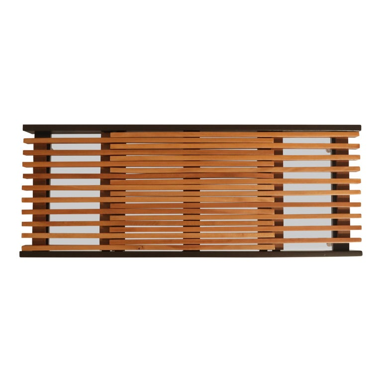 Brass Extendable Slatted Wood Bench or Coffee Table by Maruni, 1950s Hiroshima Japan For Sale