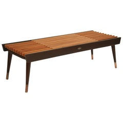 Extendable Slatted Wood Bench or Coffee Table by Maruni, 1950s Hiroshima Japan