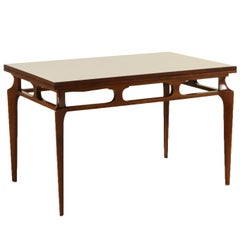 Extendable Table Stained Beech Formica Vintage, Italy, 1950s