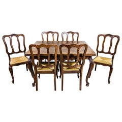Extendable Table with Chairs, Oak Furniture Set from the Interwar Period
