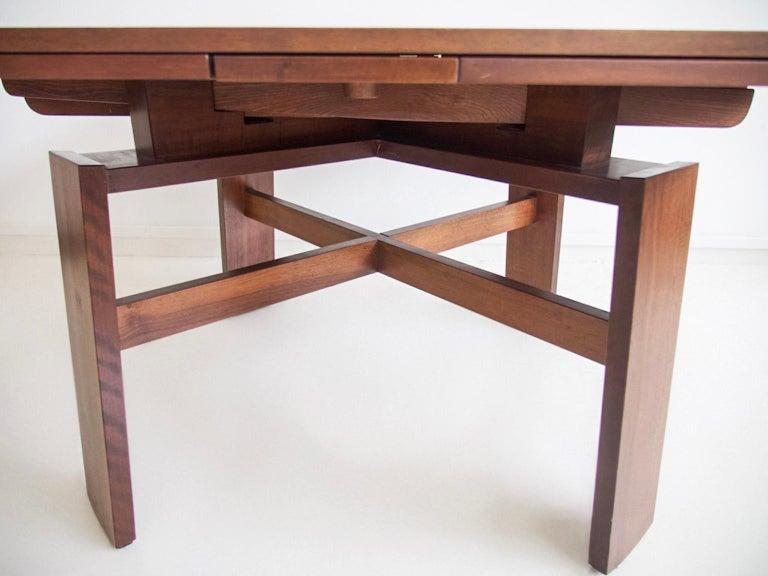 Extendable Walnut Table by Silvio Coppola for Bernini, Model 612 For Sale 5