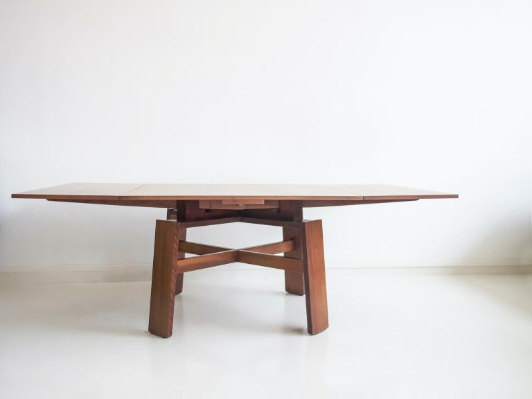 Extendable Walnut Table by Silvio Coppola for Bernini, Model 612 For Sale 10
