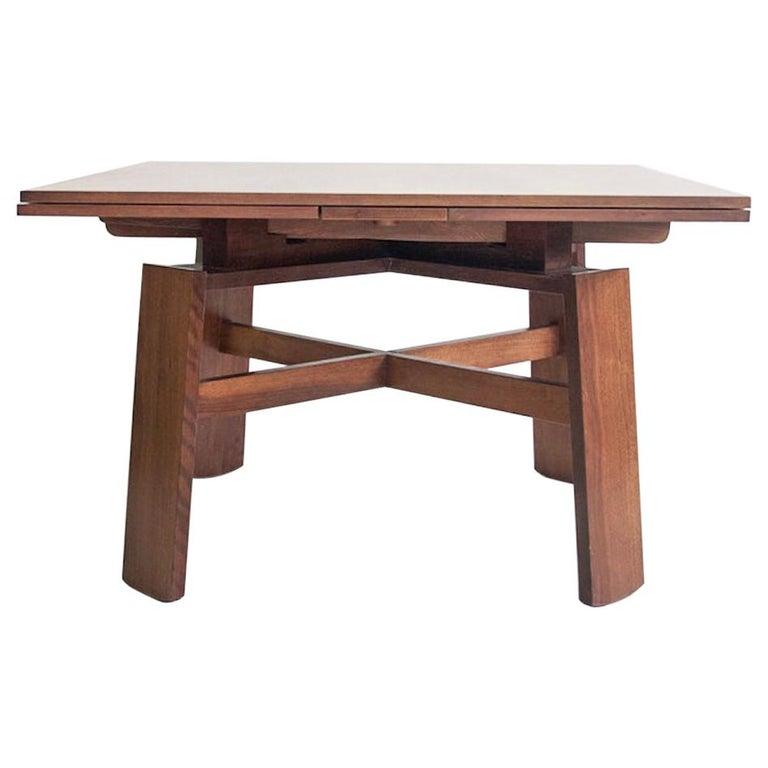 Extendable Walnut Table by Silvio Coppola for Bernini, Model 612 For Sale