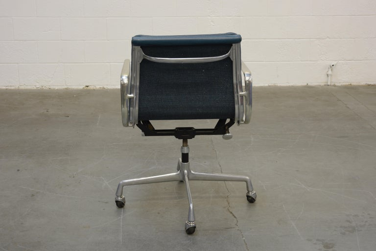 Extended Height Soft Pad Desk Chair by Charles Eames for Herman Miller, Signed In Good Condition For Sale In Los Angeles, CA