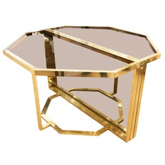 Extending Brass and Glass Table by Romeo Rega, Italy, 1960s