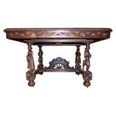 Extending Carved Oak Breton Dining Table, circa 1890
