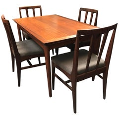 Extending Midcentury Afrormosia Dining Table with 4 Chairs by Younger of Glasgow