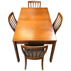Extending Midcentury Dining Table with 4 Chairs by Greaves & Thomas
