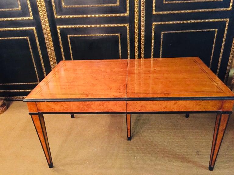 Extending Table in Biedermeier Style Bird's-Eye Maple For Sale 6