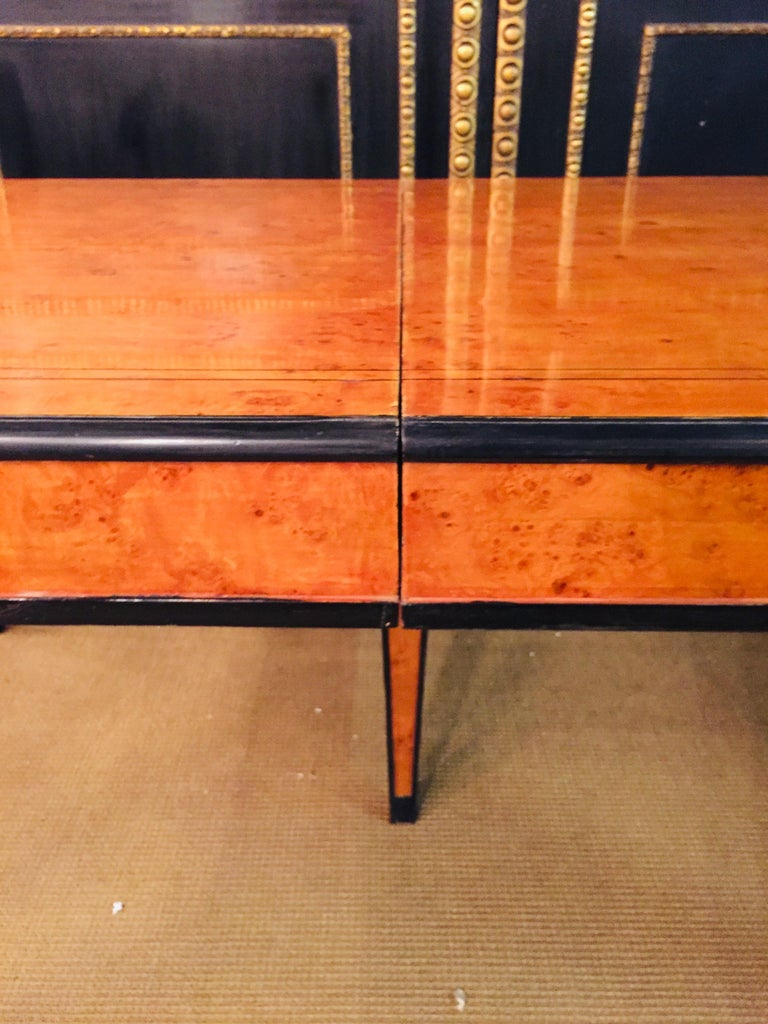 Extending Table in Biedermeier Style Bird's-Eye Maple For Sale 11