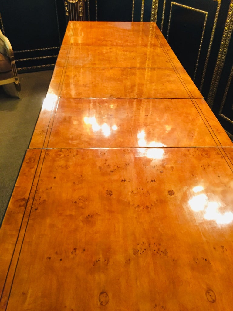 Veneer Extending Table in Biedermeier Style Bird's-Eye Maple For Sale