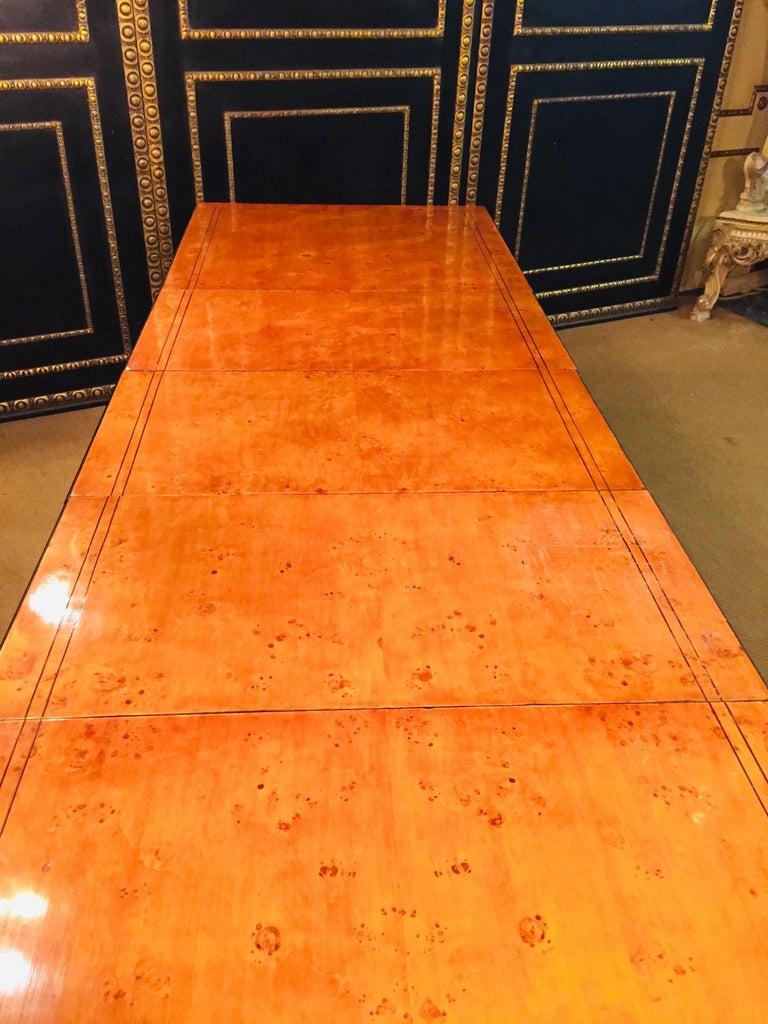 Birdseye Maple Extending Table in Biedermeier Style Bird's-Eye Maple For Sale