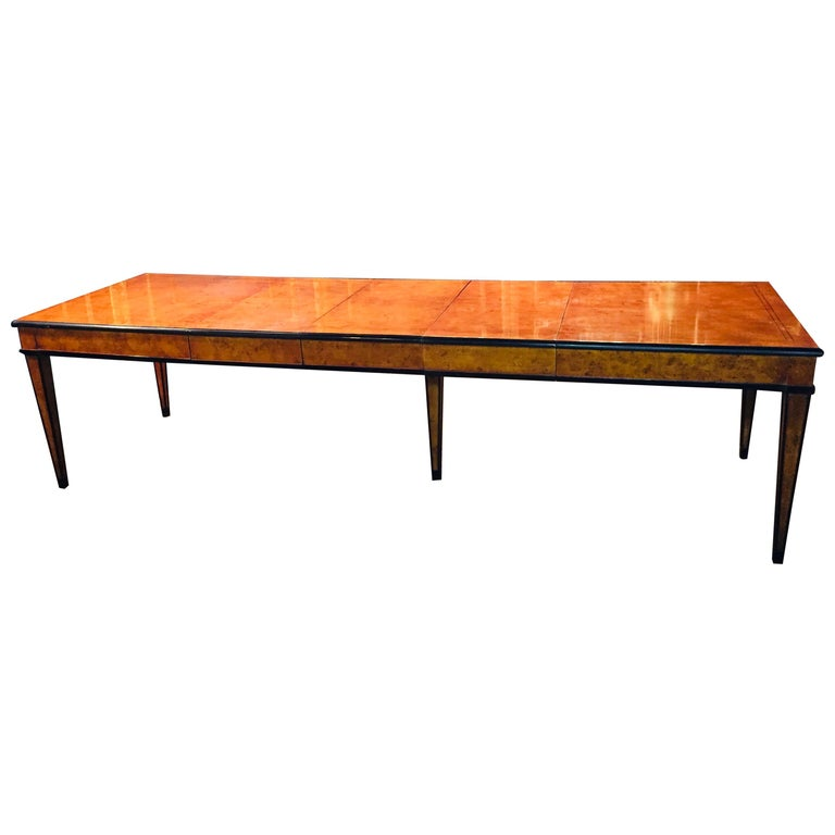 Extending Table in Biedermeier Style Bird's-Eye Maple For Sale