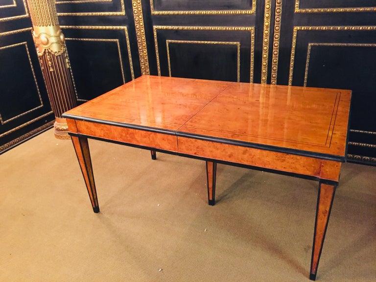 Extending Table in Biedermeier Style Bird's-Eye Maple For Sale 8