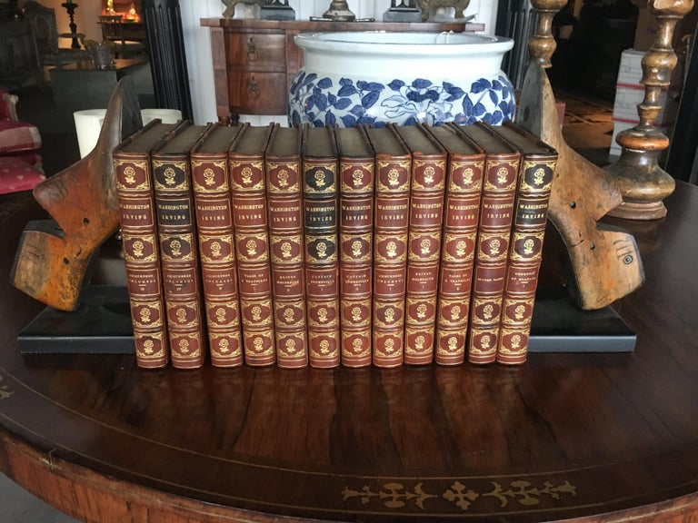 Extensive collection of 19th century leather bound books, priced per book, various colors, sizes, most with embossed gilt decoration. This is just a partial offering of what we have, always check in with us as our inventory is constantly changing.