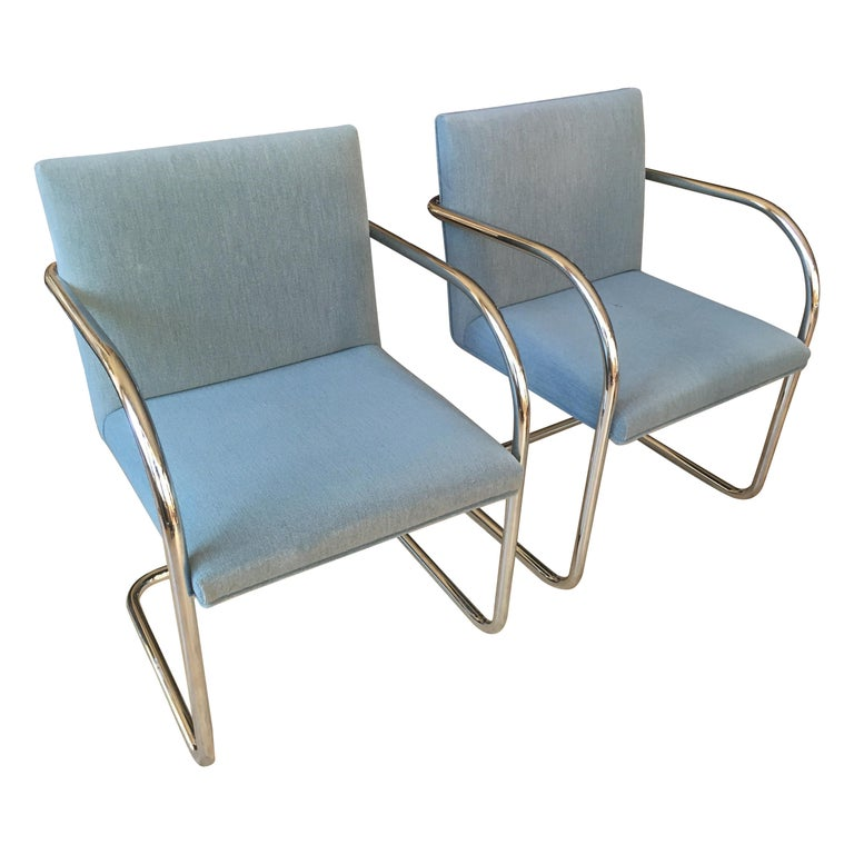 Extensive Collection of 48 Mies Brno Style Tubular Armchairs. Office/Restaurant. For Sale