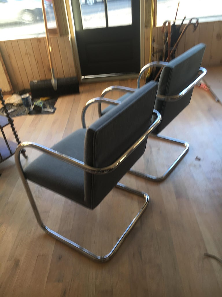 Extensive Collection of 48 Mies Brno Style Tubular Armchairs. Office/Restaurant. In Good Condition For Sale In Buchanan, MI