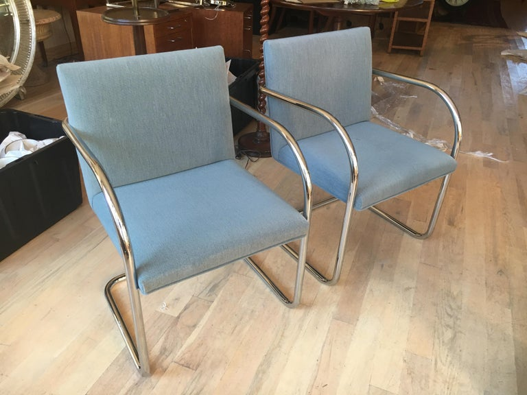 20th Century Extensive Collection of 48 Mies Brno Style Tubular Armchairs. Office/Restaurant. For Sale