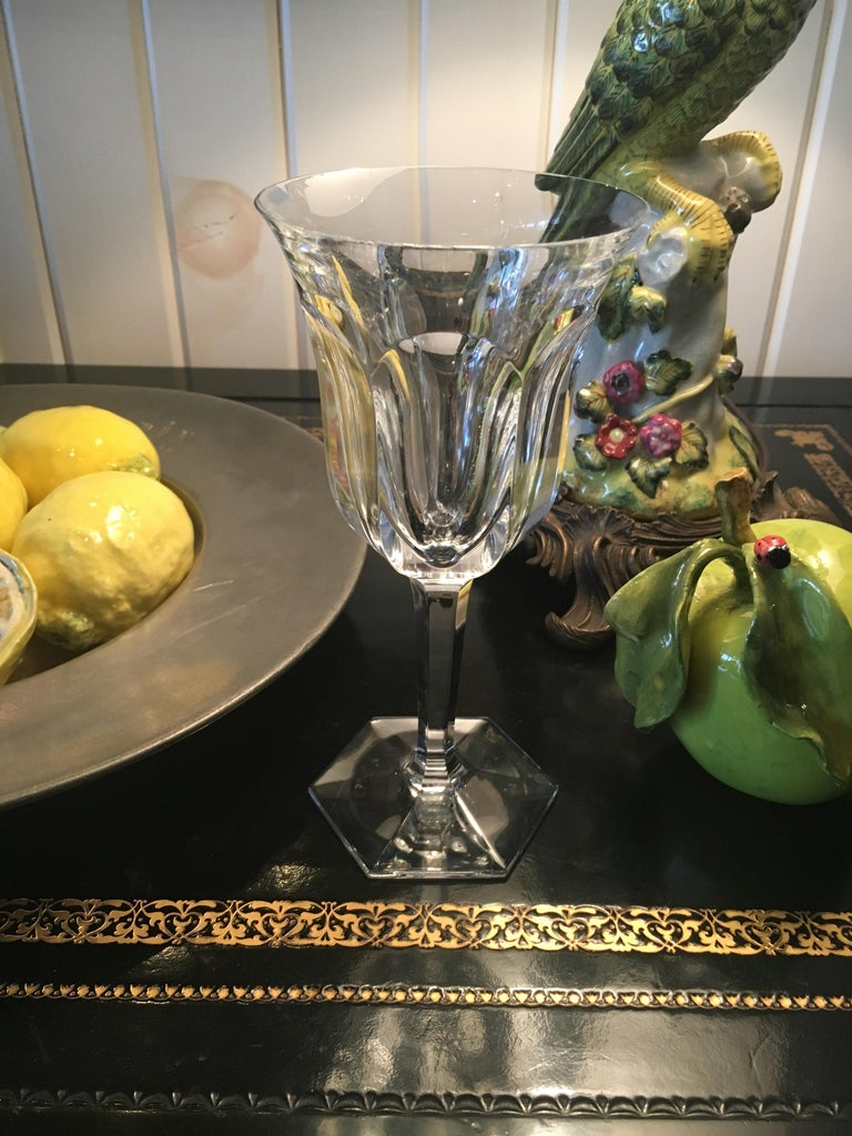 Hollywood Regency Extensive Collection of Baccarat Cut Crystal Stemware, Red Wines and White Wines For Sale
