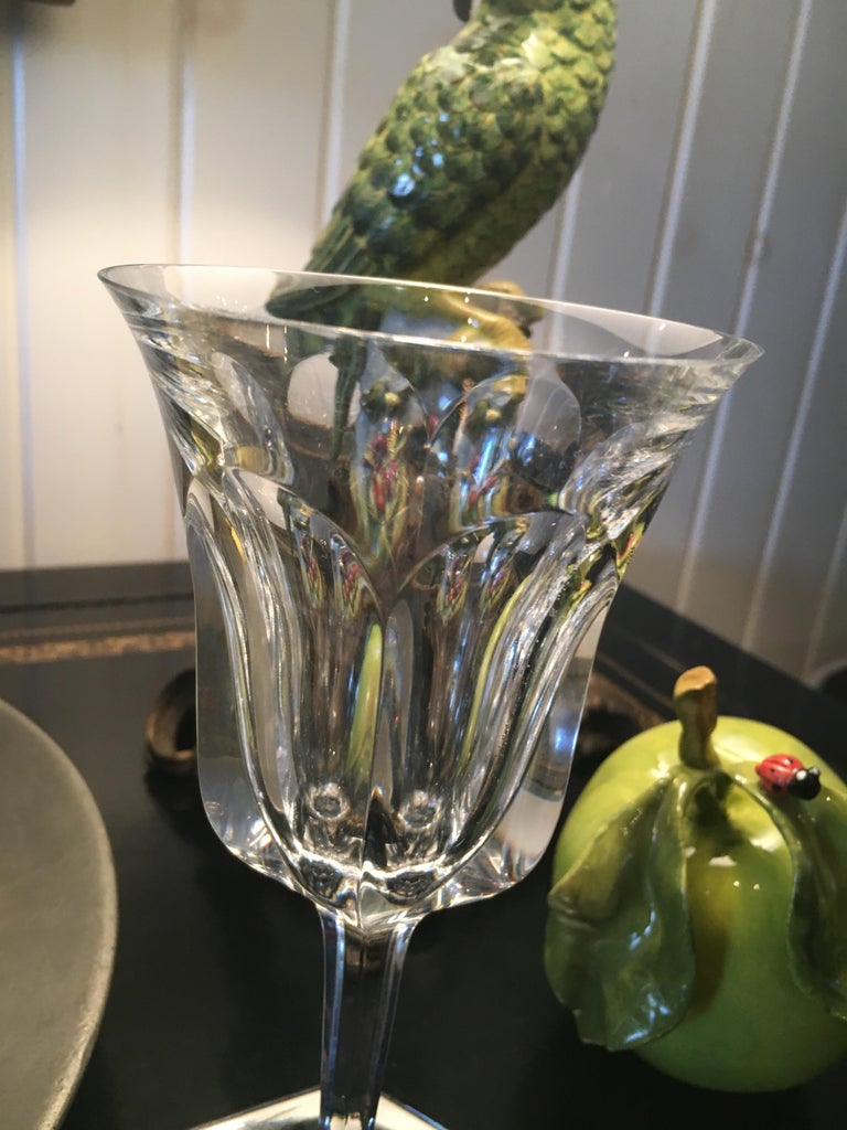 French Extensive Collection of Baccarat Cut Crystal Stemware, Red Wines and White Wines For Sale