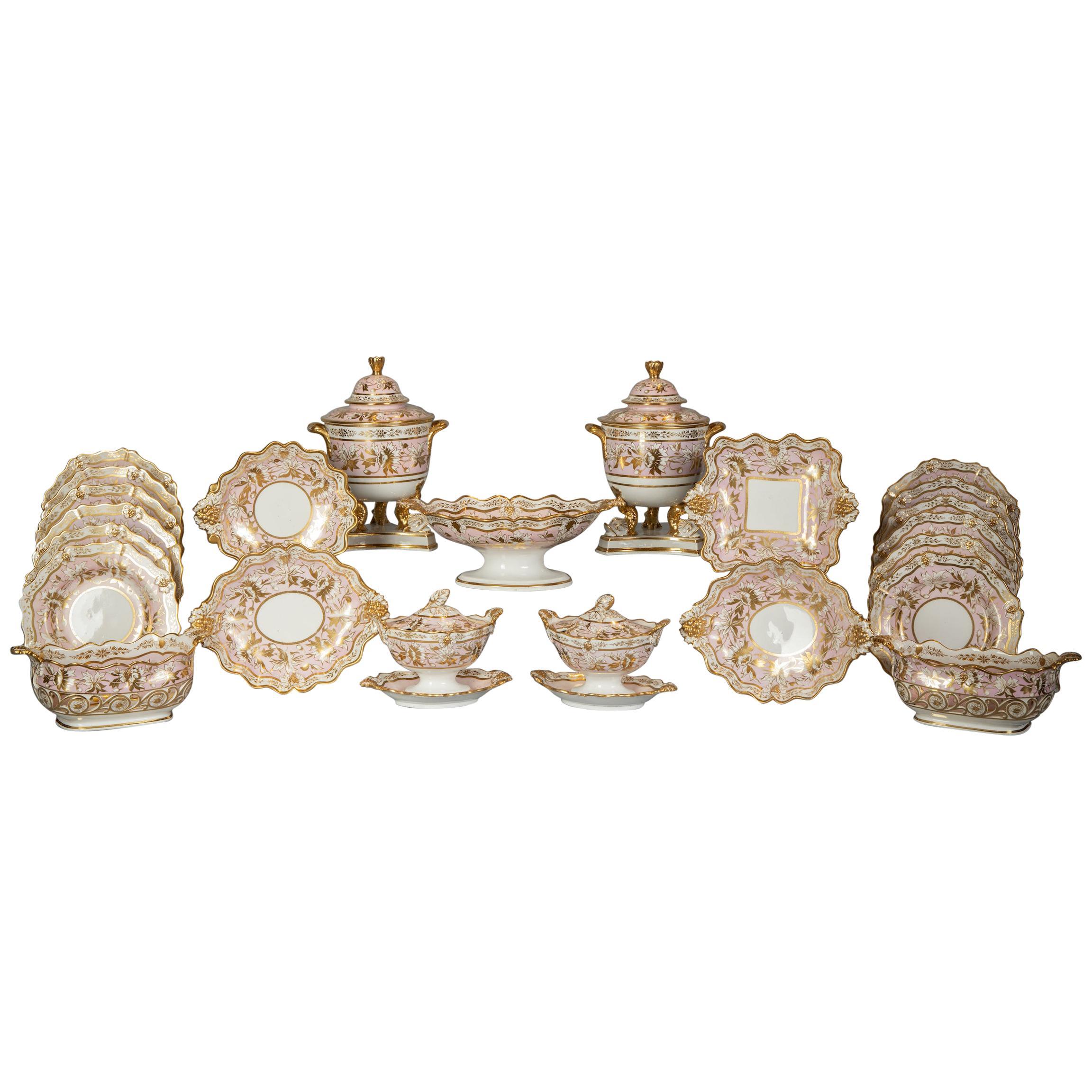 Extensive English Porcelain Dessert Service, circa 1825