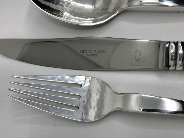 Extensive Set of Georg Jensen Sterling Silver Blossom/Magnolia Silverware For Sale 2