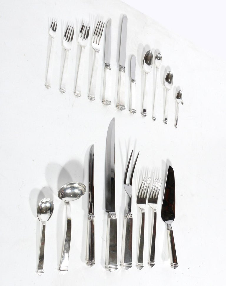 Art Deco Extensive Set of Tiffany Hampton Sterling Silver Flatware 140 Pieces For Sale