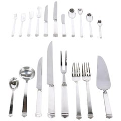 Extensive Set of Tiffany Hampton Sterling Silver Flatware 140 Pieces