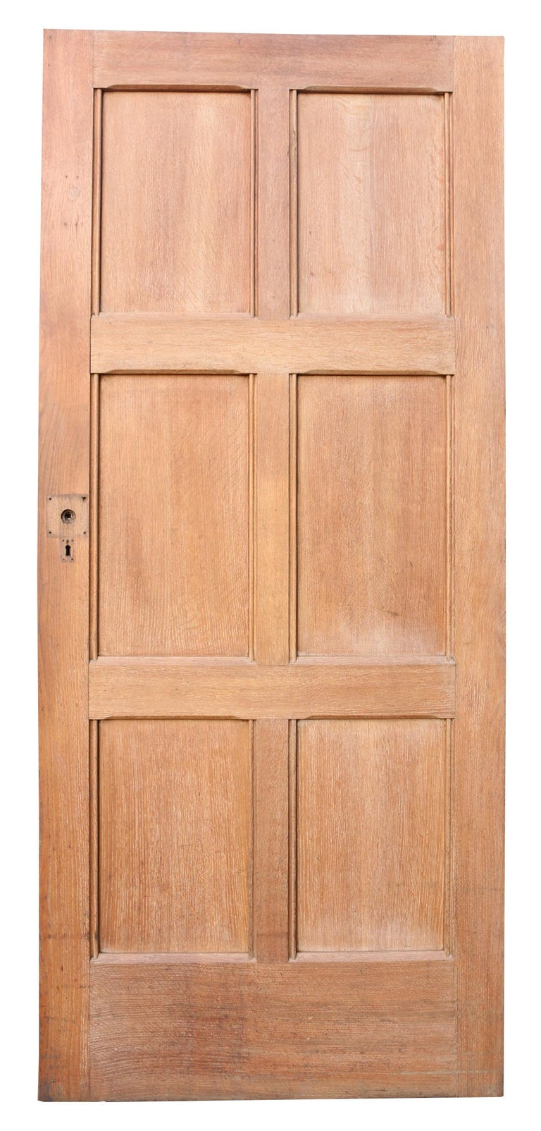 Exterior English Oak Six-Panel Door In Fair Condition For Sale In Wormelow, Herefordshire