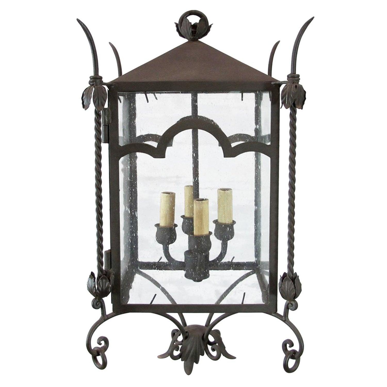 Exterior italian style iron lantern with arch detail