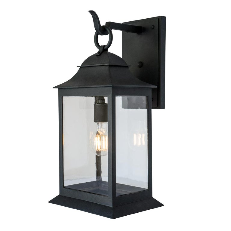 American Craftsman Exterior Wrought Iron Wall Lantern, Handmade Outdoor Light Fixture, Clean Lines For Sale