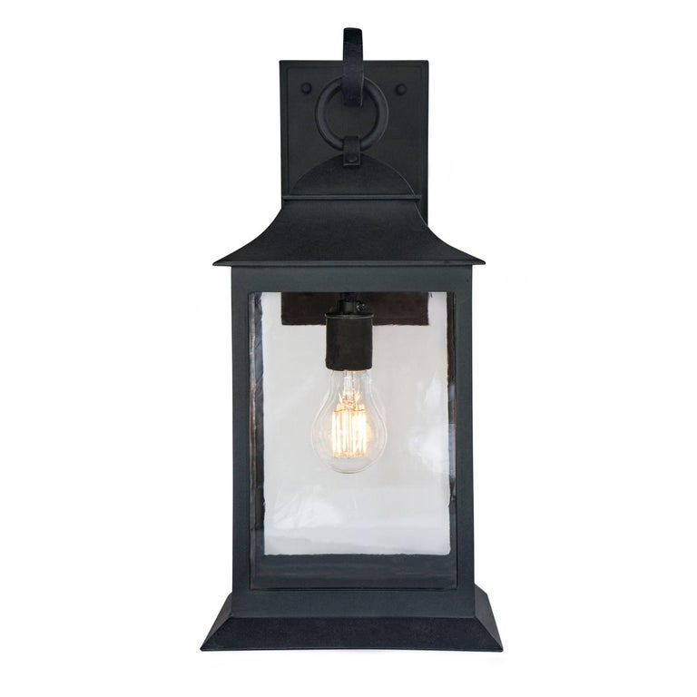 Exterior Wrought Iron Wall Lantern, Handmade Outdoor Light Fixture, Clean Lines For Sale
