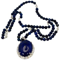 Extra Fine Lapis Lazuli Pendant Diamond Surround 18 Karat Diamond Studded Chain