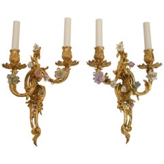 Extra Fine Pair of Louis XV Style Gilt Bronze and Porcelain Flower Sconces