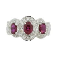 Extra-Fine Ruby Diamond Platinum Ring