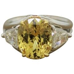 Extra Fine Yellow Sapphire Diamond Platinum Ring, GIA Certified
