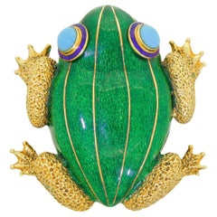 Extra Large 14k Gold Green Enamel Blue Turquoise Tree Frog Pin Brooch Exquisite