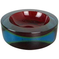 Extra Large 3,6kg Sommerso Bowl Murano Vetri Glass by Cenedese, Italy, 1970s