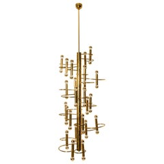Extra Large 48-Light Ceiling Fixture by Sciolari, Italy, 1970s