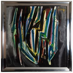 "Extra Large Abstract Oil on Styrofoam by Guglielmo ""Mino"" Lusignoli, Italy"