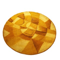 Extra Large Abstract Yellow 1970s High Pile Rug by Globus Rugs, Germany