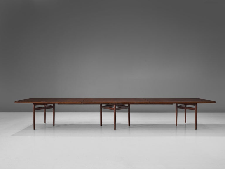 Danish Extra Large Arne Vodder Dining Table in Rosewood For Sale