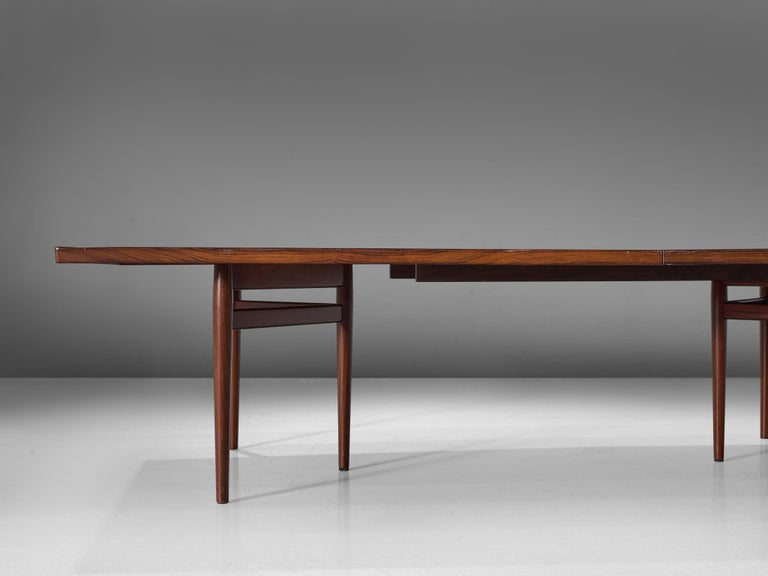 Extra Large Arne Vodder Dining Table in Rosewood In Fair Condition For Sale In Waalwijk, NL