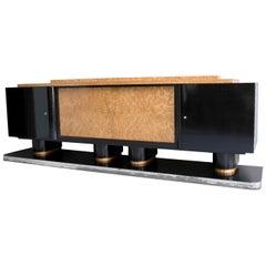 Extra Large Art Deco Black and Burl Wood Sideboard, Belgium, 1930s