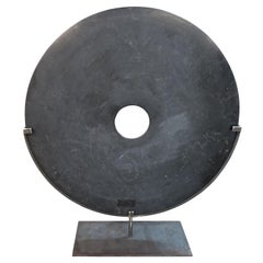 Extra Large Black Stone Disc Sculpture, China, Contemporary