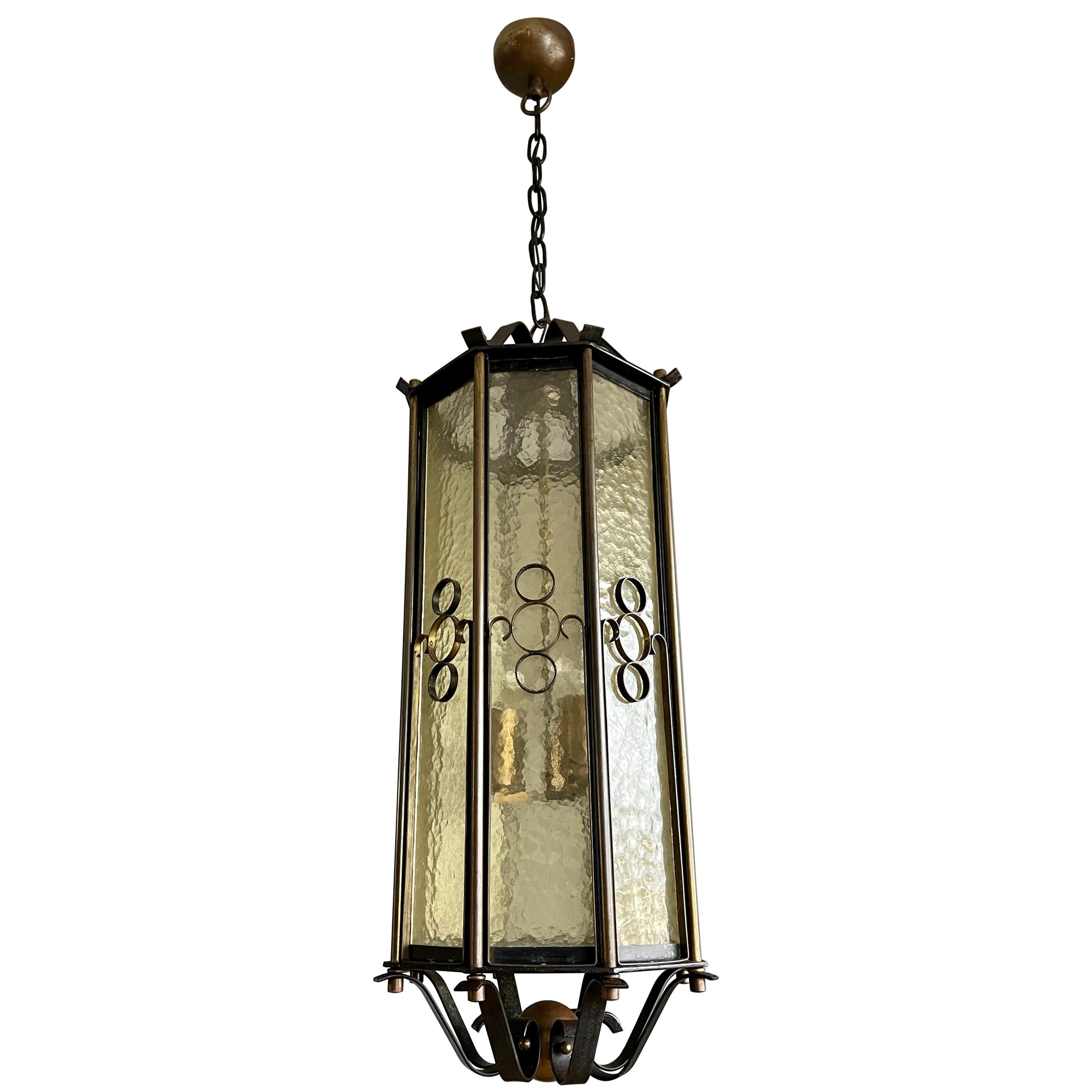 Extra Large Brass and Wrought Iron Lantern / Pendant with Cathedral Glass, 1930s