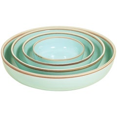 Extra Large Celadon Glazed Porcelain Hermit Bowl with Rustic Rim