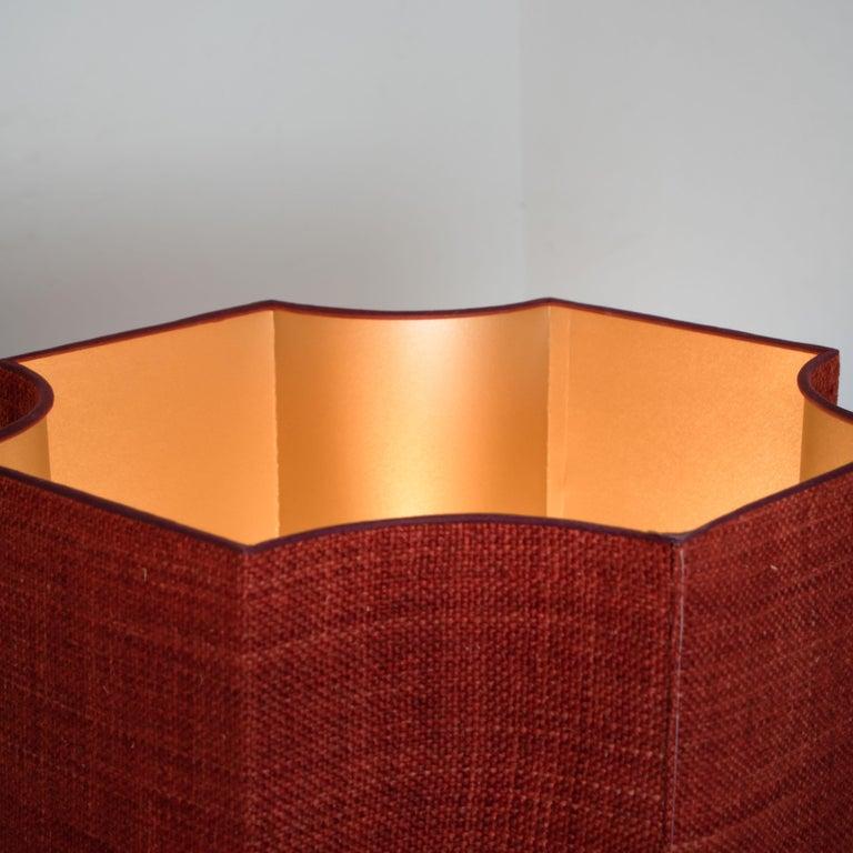 Extra Large Ceramic Floor Lamp with New Silk Custom Made Lampshade René Houben In Good Condition In Rijssen, NL