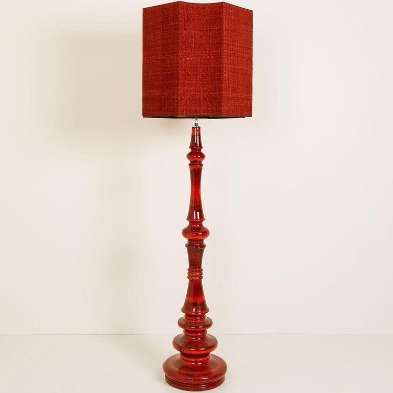 Extra Large Ceramic Floor Lamp with New Silk Custom Made Lampshade René Houben 1