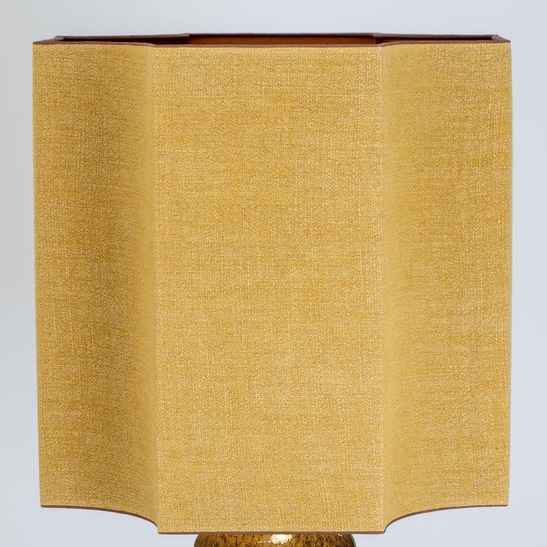 Extra Large Ceramic Lamps with New Silk Custom Made Lampshades René Houben, Pair For Sale 4